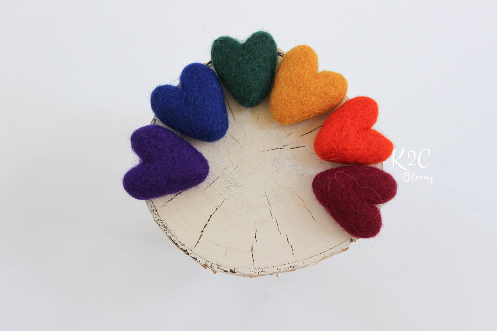 Felt rainbow hearts set - Jewel tones