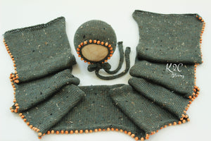 Beaded wrap & bonnet set - Dusty Blue Green
