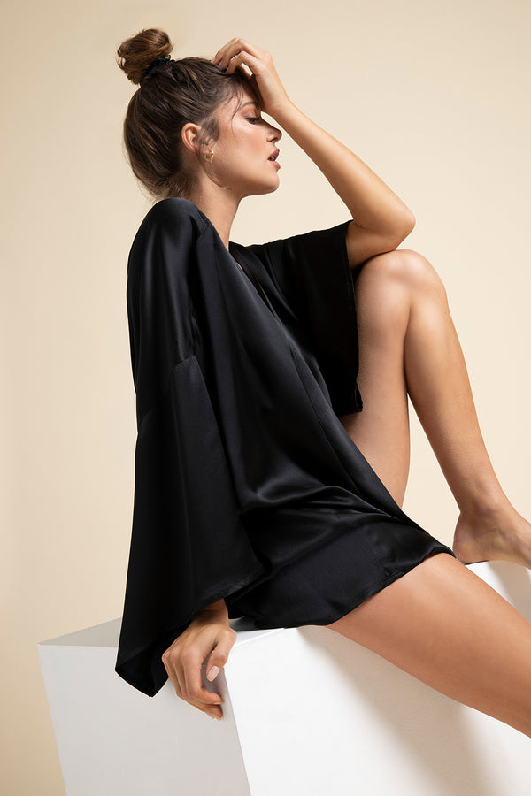 Luxury Loungewear | Muse Silk Short Kimono Robe + Scrunchie in Noir