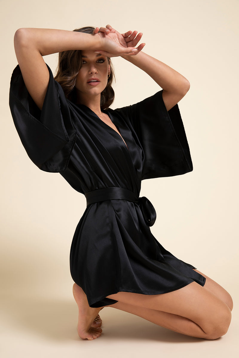 Luxury Loungewear | Muse Silk Short Kimono Robe in Noir