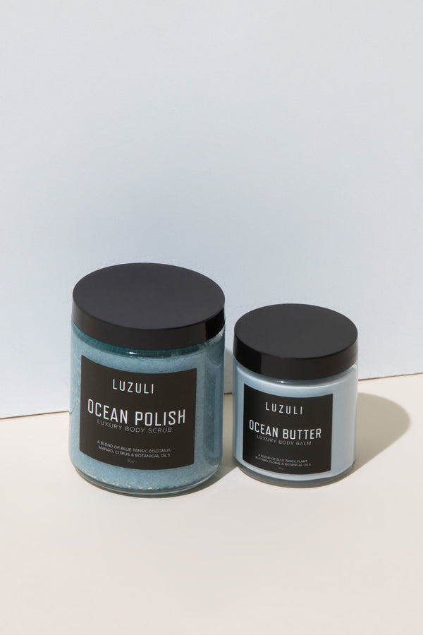 Luzuli Ocean Glow Body Duo - Vegan, Cruelty Free, Non Toxic and Organic Body Scrub and Body Balm