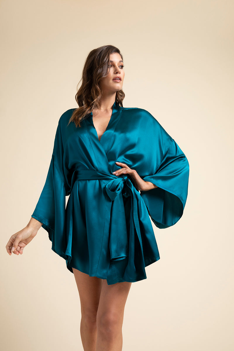 Luxury Loungewear | Muse Silk Short Kimono Robe in Pacific