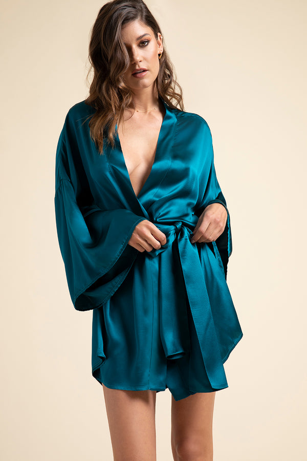 Luxury Loungewear | Muse Silk Kimono Robe in Pacific