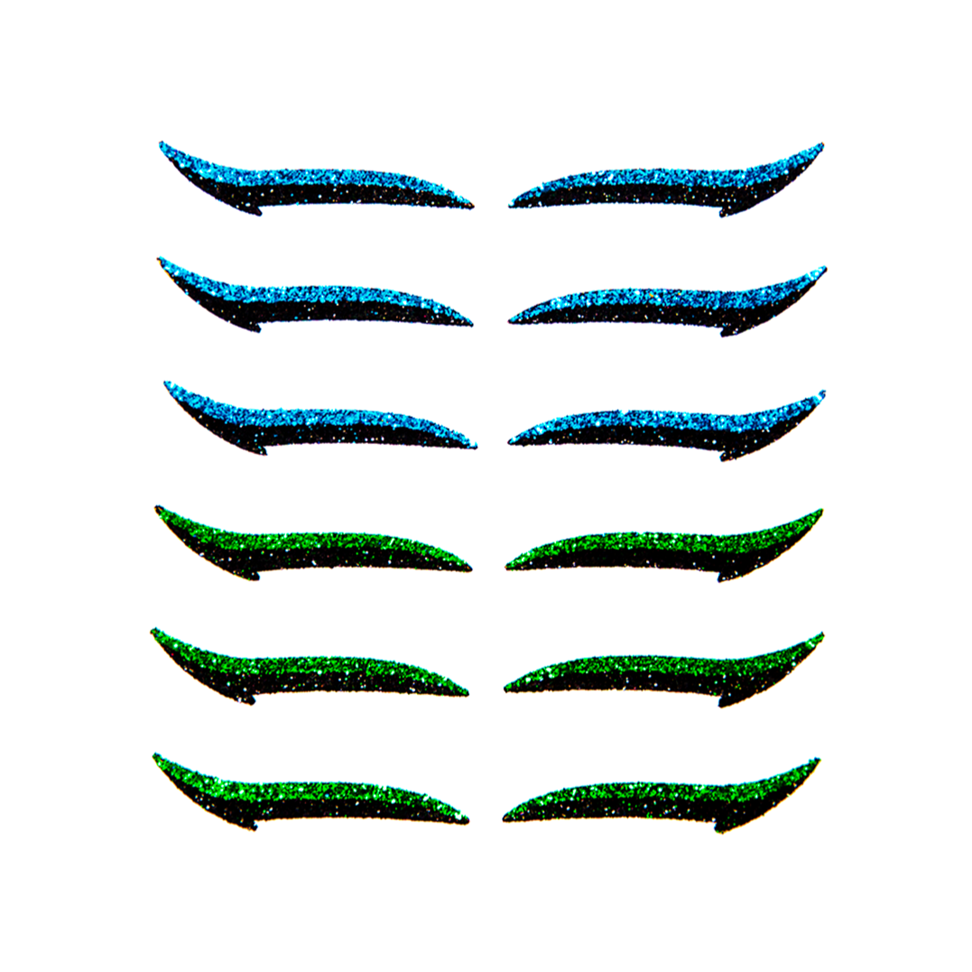 Eyeliner Sticker CLASSIC BLUE & GREEN - 6 pairs