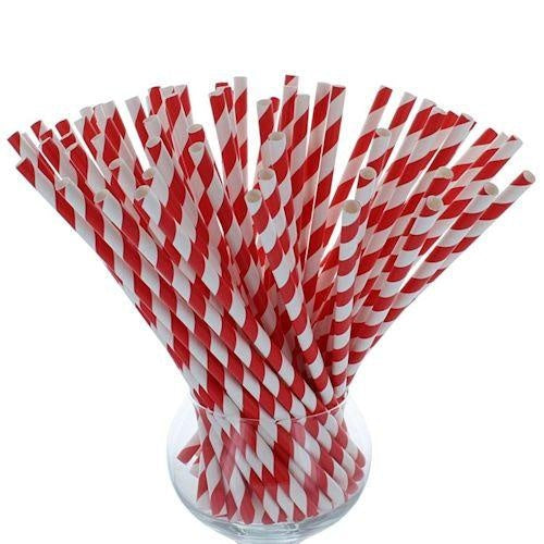 Paper Straws 200mm x 6mm - Boxes of 250 Various Colours