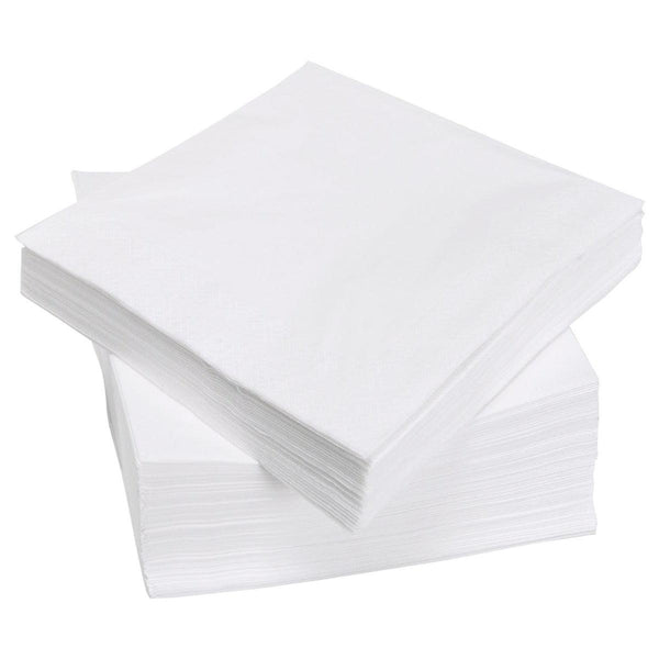 White 2ply Tissue Cocktail Napkins / Serviettes 24x24cm - (Qty:200)