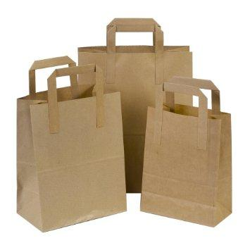 "8.5x13x10"" Brown Paper SOS Tape Handle Carrier Bags - Medium (Qty: 250)"