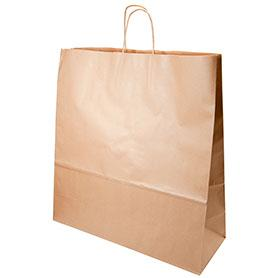 "Twist Handle Carriers  - Brown Kraft 230x90x310mm (9x12.5x12"") - (Qty: 125)"