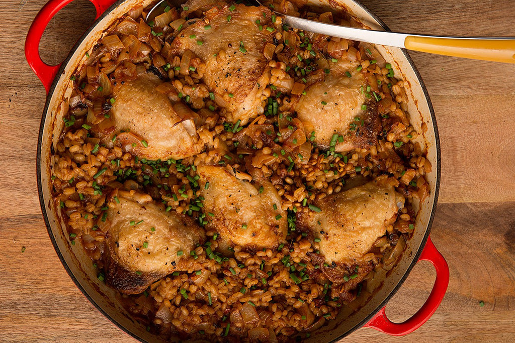 Roast Chicken Thighs with Barley