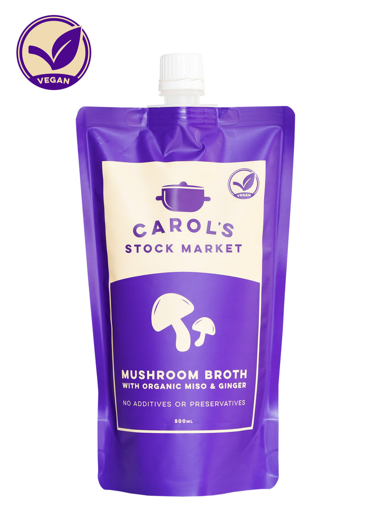 Carol's Stock Market - Mushroom Broth with Organic Miso & Ginger