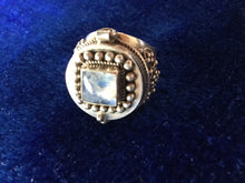 Load image into Gallery viewer, Large Silver Ring with Moonstone and Hidden Compartment