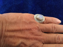Load image into Gallery viewer, Artisan Silver Circle Ring with Moonstone from Essaouira