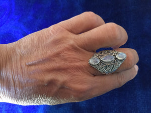 Artisan Silver Filigram Ring with Moonstones from Essaouira