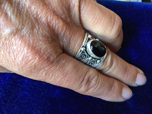 Artisan Silver Ring with Black Onyx stone and filigram from Essaouira