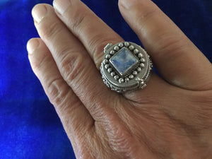 Large Silver Ring with Moonstone and Hidden Compartment