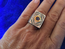Load image into Gallery viewer, Artisan Silver Berbere Ring with 'eye' for protection