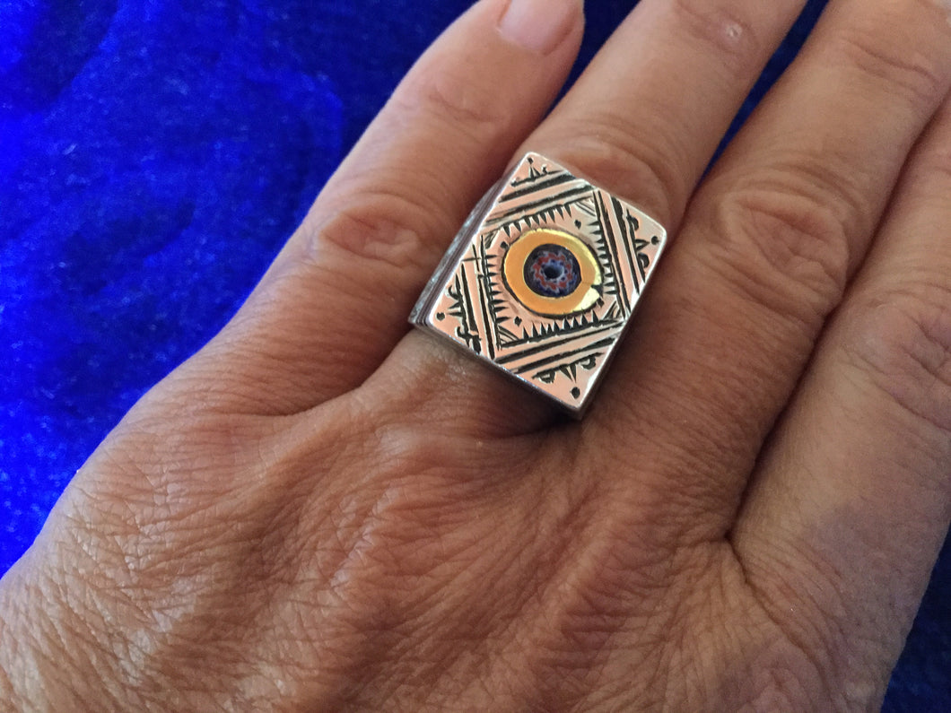 Artisan Silver Berbere Ring with 'eye' for protection