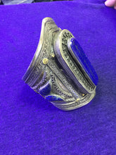 Load image into Gallery viewer, Stunning Silver and Lapis Lazuli Cuff Bracelet from Morocco