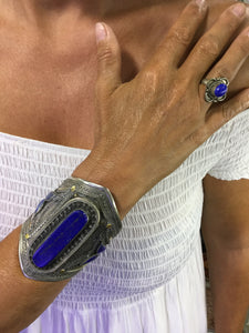Stunning Silver and Lapis Lazuli Cuff Bracelet from Morocco