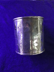 Large Silver Engraved Cuff Bracelet from Morocco