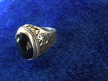 Load image into Gallery viewer, Heavy Silver Ring with Filigram and Black Onyx Stone offering protection, from Essaouira