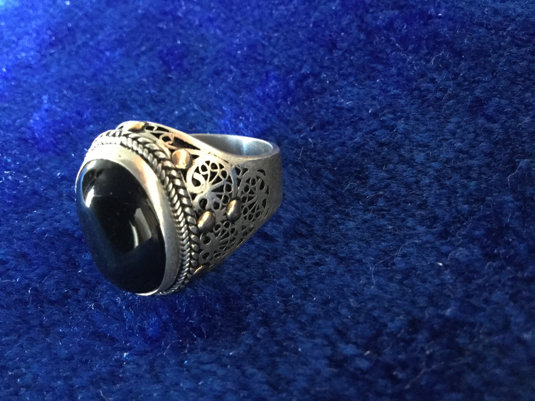 Heavy Silver Ring with Filigram and Black Onyx Stone offering protection, from Essaouira