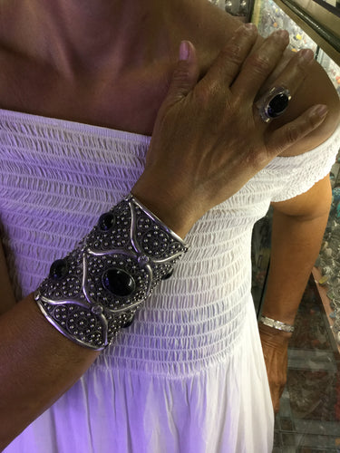 Large Solid Silver Cuff with Onyx Stone from Morocco