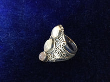 Load image into Gallery viewer, Artisan Silver Filigram Ring with Moonstones from Essaouira