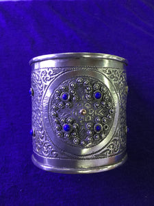 Silver Cuff Bracelet with Lapis Lazuli from Morocco