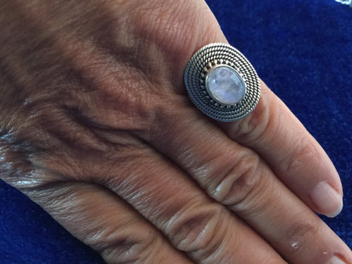 Artisan Silver Circle Ring with Moonstone from Essaouira