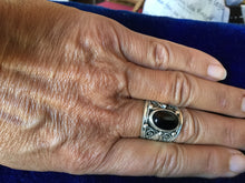 Load image into Gallery viewer, Artisan Silver Ring with Black Onyx stone and filigram from Essaouira