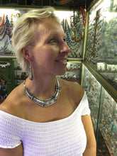 Load image into Gallery viewer, Antique-style Moroccan silver necklace with matching silver earrings