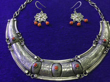 Load image into Gallery viewer, Moroccan silver and coral necklace with matching silver and coral earrings