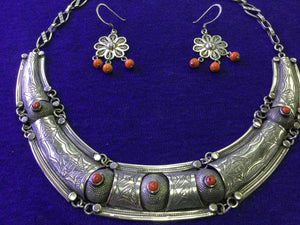 Moroccan silver and coral necklace with matching silver and coral earrings