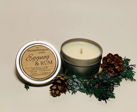 Eggnog & Rum Travel Tin Soy Candle 4 oz.