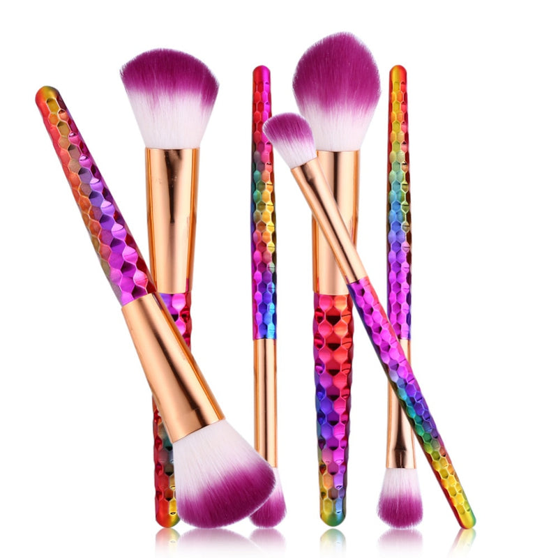 Jewel Colorful 6 pcs Makeup Brushes Set