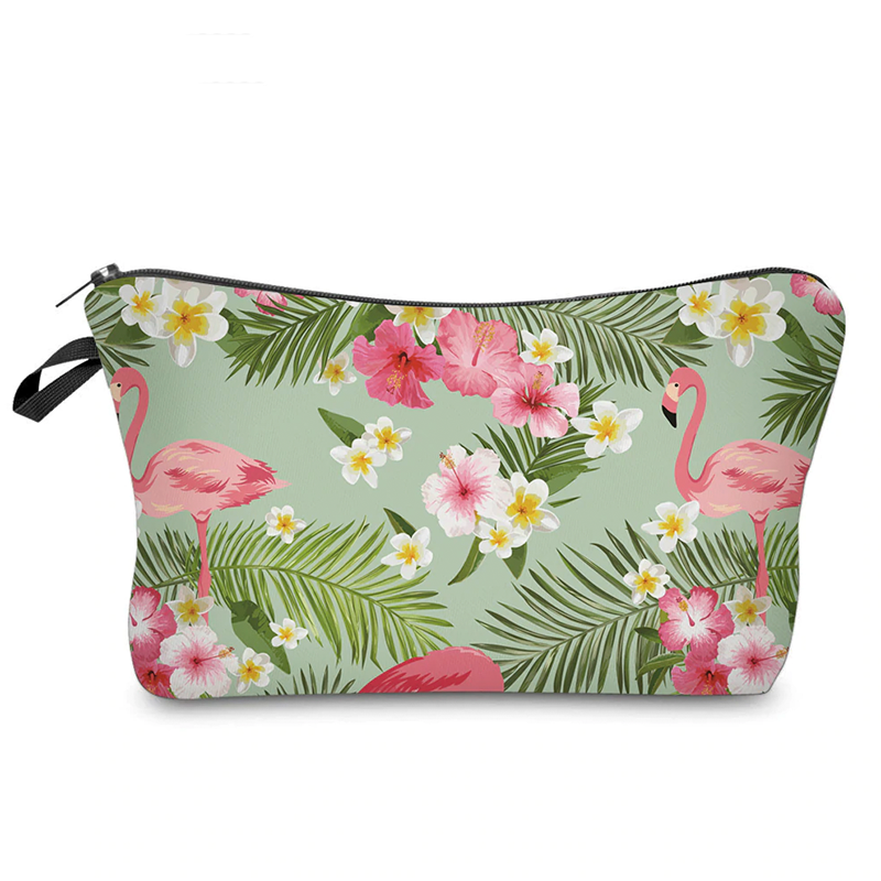 Tropical Flowers And Flamingos Makeup Bag
