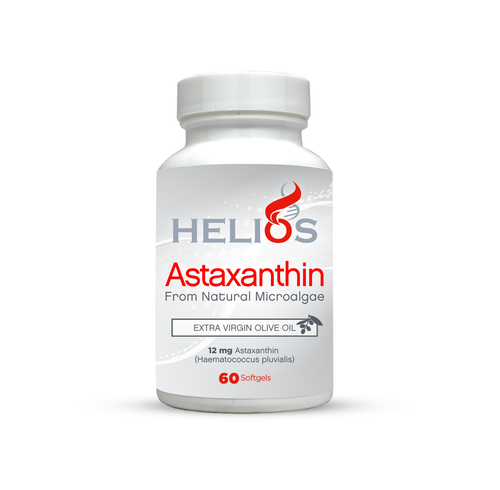 Astaxanthin (12 mg) | Cold Pressed Extra Virgin Olive Oil | All Natural | 60 SoftGels - Helios Supplements