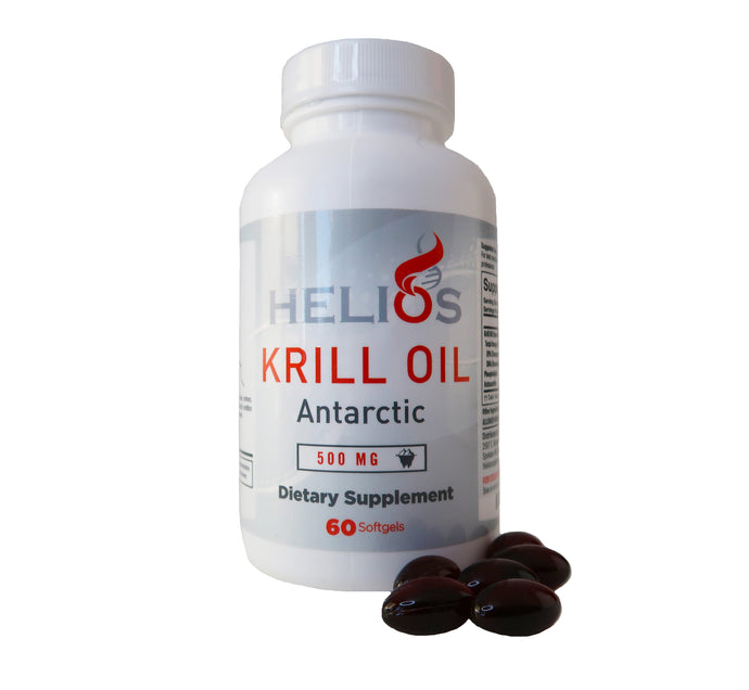Helios Best Krill Oil Supplement - Omega 3 Packed Antarctic Red Krill Fish Oil With Astaxanthin - USA Manufactured - 60 SoftGels