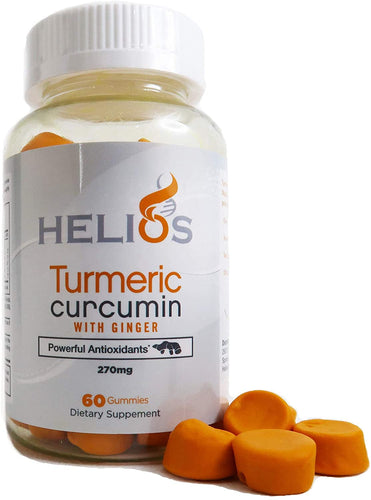 Turmeric and Ginger Gummies - Helios Organic Turmeric Curcumin with Ginger Supplement - Vibrant Orange Color and Flavor - 60 Gummies