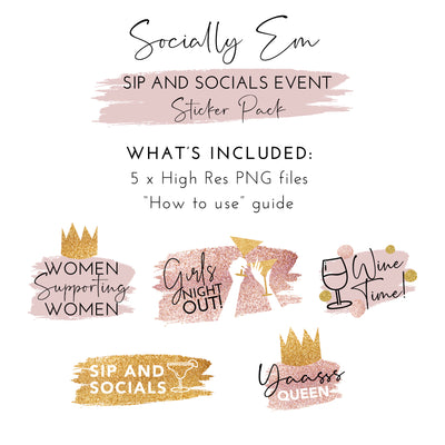 Sip And Socials Event Sticker Pack