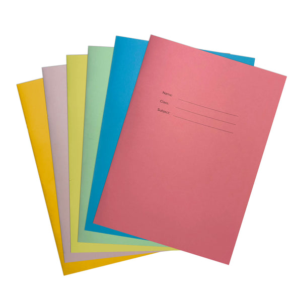 A4 Coloured Exercise Books, Lined with Margin, 40 pages (Pack of 10)