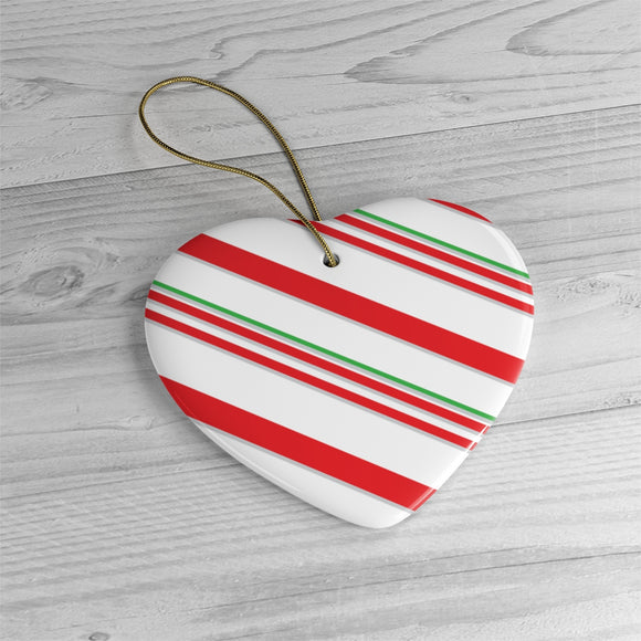 Candy Cane Ceramic Ornaments