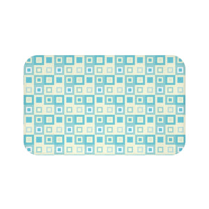Itten-Grid Sage and Yellow, Square-patterned Bath Mat