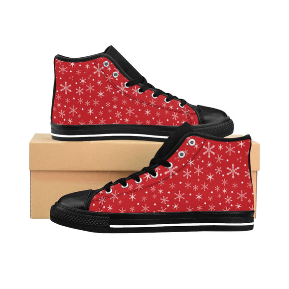 Women's Snowflakes on Red High-top Sneakers