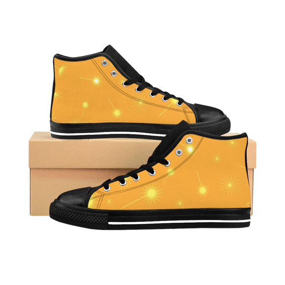 Women's Dandelion on Yellow Black-soled High-top Sneakers