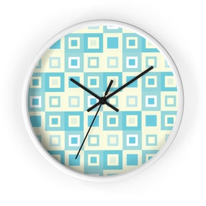 Itten-Grid Sage and Yellow, Square-patterned Wall Clock