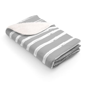 "50"" x 60"" Gray Lines #1 Sherpa Fleece Blanket"