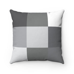 Gray Grid #1 Spun Polyester Square Pillow