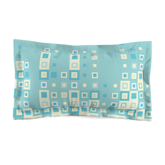 Boogie Woogie Sage and Yellow, Square-patterned Microfiber Pillow Sham